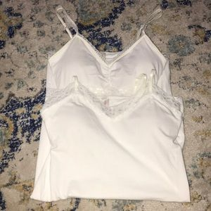 2 pairs of padded size L (11-13) white tank tops